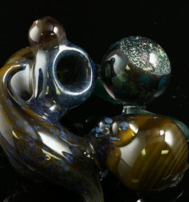 Dave Eckhart Tentacle Pipe with Galaxy Marble 5″