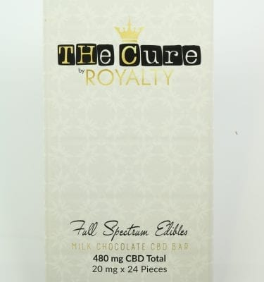 The Cure By Royalty CBD  Full Spectrum Edible Chocolate Bar (480mg CBD)